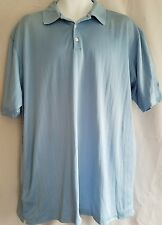 Tiger Woods Mens Golf Polo Shirt Size Large Light Blue 100% Cotton Stain (pics)