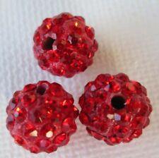 Polymer Clay Crystal Shamballa Beads Diy Beads Zardenia 3pcs Red Shambala Beads