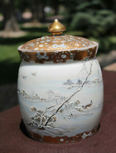 Japanese Kato Harumitsu Winter Scene Porcelain Vase Jar  - Rare
