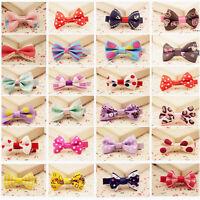 1/10X Toddler Girl Baby Hair Clip Ribbon Bow  Kids Satin Bowknot Headband LJ