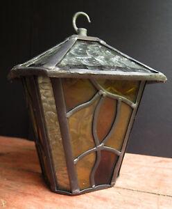 A HEAVY LEADED GLASS PORCH/HALL LANTERN