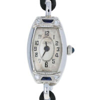 Glycine Art Deco Diamond Ladies Watch - 18k White Gold Quartz Conversion Vintage