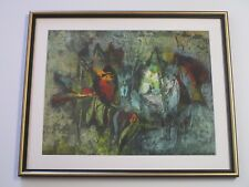 MYSTERY  PAINTING ABSTRACT NON OBJECTIVE EXPRESSIONIST MID CENTURY KOREAN ? VTG