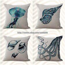 US Seller-4pcs cheap home decor cushion covers turtle octopus fish nautical