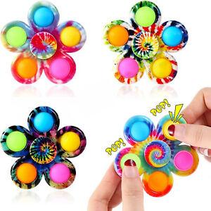 Fidget Spinner Pop it Toys Tie-Dye Popper Bubble Sensory Stress Relief For Kids