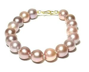 "Gorgeous Edison Purple Rose Pink Gold 10 - 11mm Round Pearl 7 - 7.5"" Bracelet"