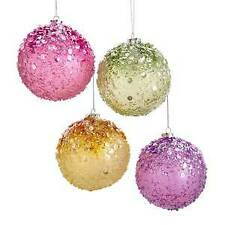 Set of 4 100MM Preppy Christmas Sequined and Beaded Ball Ornaments w