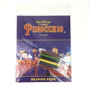 NEW DEADSTOCK 1995 Official Disney Pinnochio Merchandise Drawing Book/Stickers