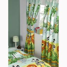 "JUNGLE-TASTIC 66"" x 54"" LINED CURTAINS WITH TIE-BACKS NEW matches duvet"