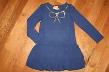 NWT Gymboree Flight of Fancy Size 7 Navy Blue Rayon Blend Sequin Bow Dress