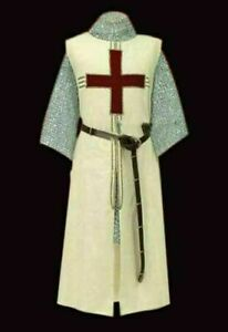 Medieval Tunic Reenactment Wizard Mage Costume White Color Nice Red Templar