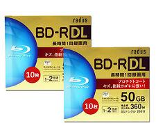 20 Radius 3d Blu Ray 50GB BD-R DL 4x Rohlinge Bluray Inkjet Printable Repack tdk