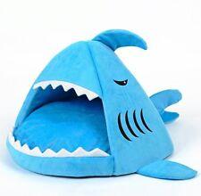 New Blue Shark Shape Short Plush Pet Dog Cat House Sofa Bed Kennel Size S,M