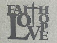 Faith Love & Hope with Cross Wood Wall Decor Art Sign