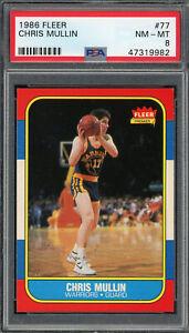 Chris Mullin Golden State Warriors 1986 Fleer Basketball Rookie Card #77 PSA 8