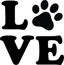 LOVE WITH DOG PAW-DOG LOVER WINDOW DECAL STICKER