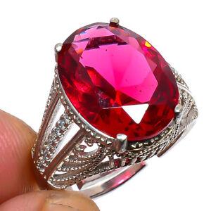 Pink Rubellite Tourmaline & White Topaz 925 Silver Solitare Ring s.Ad R464-241