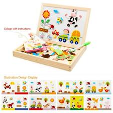 Wood Magnetic Puzzle Figure Animals Farm Drawing Board Box Educational Toy Gifts