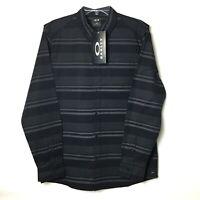 New Oakley Mens Medium Black/Gray Striped Woven Long Sleeve Button Front Shirt