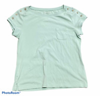 Woman's TALBOTS Green T-Shirt Top Blouse Short Sleeve Petite Size Large PL