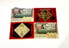 Chinese New Year Cards (Pack of 4) - Medium Size, Oriental & Traditional Designs