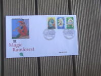 MAGIC RAINFOREST 3 JOINED STAMPS ELF   PRIVATE FIRST DAY COVER KYOGLE PMK
