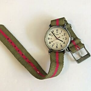 Timex Watch Stainless Steel 1216 cell Silver Tone White Face Green Pink Strap
