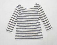 Oasis Womens Size M Striped Cotton Beige Top (Regular)