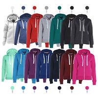 Womens Ladies Plain Hoodie Fleece Sweatshirt Hooded Coat Hoody Zip Jacket Top