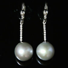 ANTIQUE LONG DIAMOND & SILVER PEARL EARRINGS
