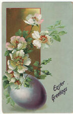 Vintage Easter Greetings Post Card, A Purple Egg, White Flowers Tuck, 1913