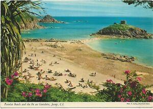 1980 Postcard - Portelet Beach, Conference Event Postmark, Jersey, CI