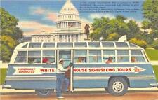 Washington Dc White House Sightseeing Tours Bus, linen Postcard