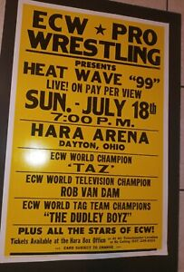 Vintage ECW WWE Heat Wave 1999 Poster Taz Rob Van Dam Dudley Boys OPC Rare WWF
