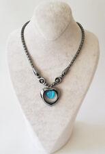 Halskette Kette Hämatit Stein(Blutstein) In Herz Form Mit Türkis Perlen