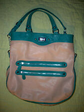 Danielle Nicole Handbag*Beige*Green*Handles*Shoulder Strap*EUC
