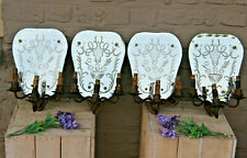 SET 4 Mid century 1950 Murano glass etched floral decor Wall lights sconces 3arm