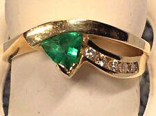 LADIES TRILLION SHAPED EMERALD + DIAMOND RING, SET IN 14K YELLOW GOLD $ 995.00
