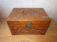 Magnifique ancien coffret en bois sculpté Indochine Chine Japon boîte asiatique.