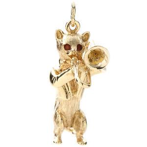 Dankner Vintage Cat Playing Trombone Charm 14k Yellow Gold