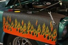 Black w/ Orange Flames car mechanics fender cover paint protector vintage style