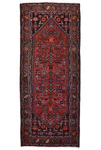 Vintage Tribal Oriental Hamadan Runner, 4'x10', Red, Hand-Knotted Wool Pile
