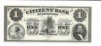 $1 Louisiana Citizens Bank New Orleans 18XX CH CU G2 Sail Boat Sailor