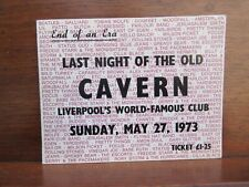 "The Beatles Last Night of the Cavern May 27 1973 Original Ticket 6"" x 4 1/2"" Ex"