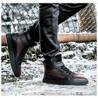 Men's Winter Leather High Top Warm Snow Boots Fur Lining Casual Shoes Bi