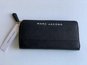NEW MARC JACOBS SAFFIANO CONTINENTAL WALLET BLACK $150