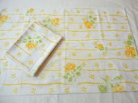 Pillowcases 2 Vintage 1970's Muslin Yellow Roses Floral Print