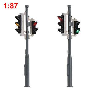 2pcs HO Scale Model Traffic Signals 5-LEDs 1:87 Crossing Block Signal Light 4cm