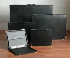 A1 A2 A3 A4 Art Portfolio Folder Case Binder Set in Black Faux Leather & Gold