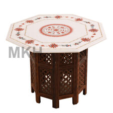 """25"""" Coffee Table White Marble Vintage Stone Inlay Work End Table Top Marquetry"""